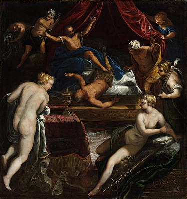 Tintoretto Painting - Hercules Expelling The Faun From Omphale's Bed by Tintoretto