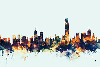Silhouette Digital Art - Hong Kong Skyline by Michael Tompsett