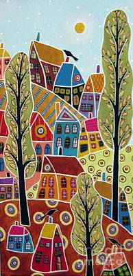 Folk Art Painting - Houses Trees And Birds by Karla Gerard