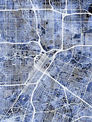 Houston Texas City Street Map Print by Michael Tompsett