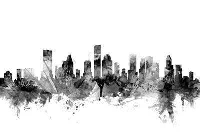 Houston Texas Skyline Print by Michael Tompsett