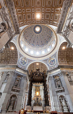 Religious Photograph - Inside Of St. Peter Basilica In Vatican City by Michal Bednarek
