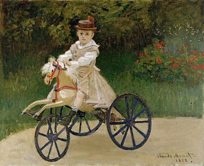 Adolescent Painting - Jean Monet On His Hobby Horse by Claude Monet