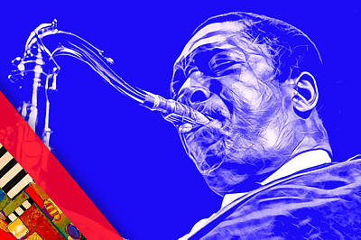 Saxophone Mixed Media - John Coltrane Collection by Marvin Blaine