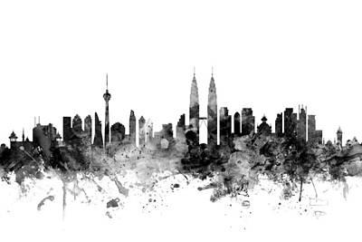 Malaysia Digital Art - Kuala Lumpur Malaysia Skyline by Michael Tompsett