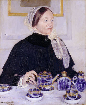 Female Painting - Lady At The Tea Table by Mary Cassatt