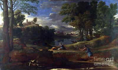 Nicolas Poussin Painting - Landscape With A Man Killed By A Snake by Celestial Images