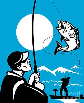 Largemouth Bass Fish And Fly Fisherman Print by Aloysius Patrimonio