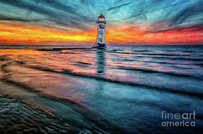 Talacre Photograph - Light House Sunset by Adrian Evans