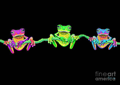 Amphibians Digital Art - 3 Little Frogs by Nick Gustafson