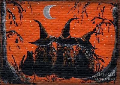 Witch Cat Painting - 3 Little Witches by Sylvia Pimental