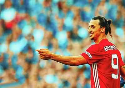 Wayne Rooney Digital Art - Manchester United's Zlatan Ibrahimovic Celebrates by Don Kuing