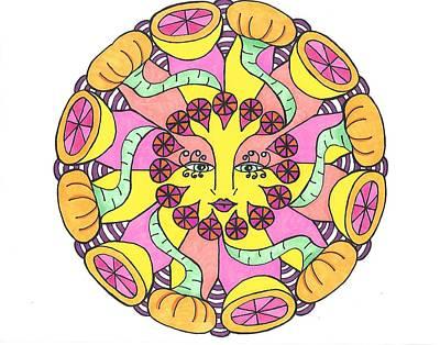 Grapefruit Drawing - Fruit Face by Roberta Dunn