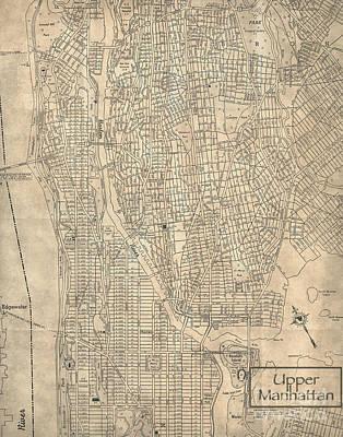 Harlem Digital Art - Manhattan New York Antique Vintage City Map by ELITE IMAGE photography By Chad McDermott