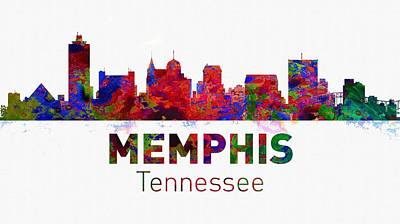 City Digital Art - Memphis Skyline - Usa City by Michael Vicin