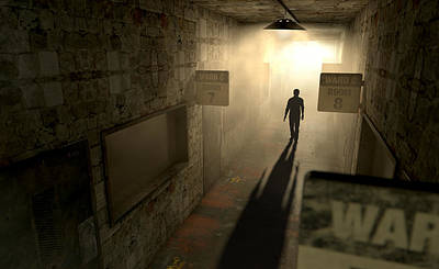 Dilapidated Digital Art - Mental Asylum With Ghostly Figure by Allan Swart