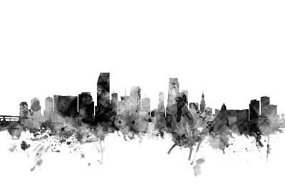 Miami Digital Art - Miami Florida Skyline by Michael Tompsett