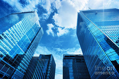 Global Photograph - Modern Business Skyscrapers, High-rise Buildings, Architecture Raising To The Sky, Sun by Michal Bednarek