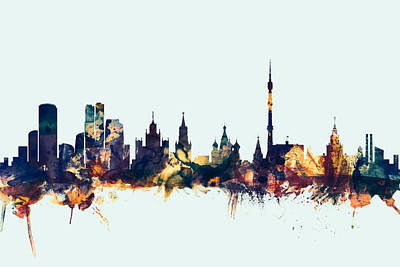 Moscow Skyline Digital Art - Moscow Russia Skyline by Michael Tompsett