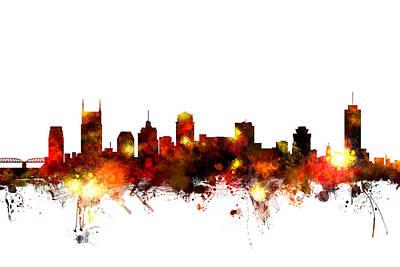 Tennessee Digital Art - Nashville Tennessee Skyline by Michael Tompsett