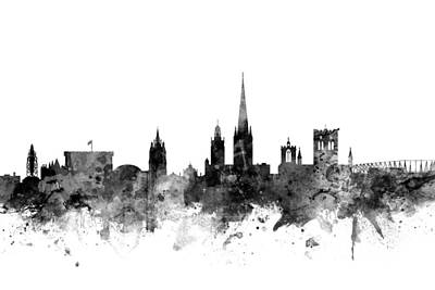 Great Britain Digital Art - Norwich England Skyline by Michael Tompsett