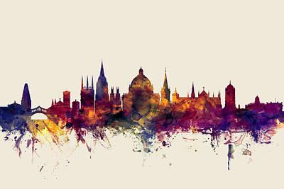 Oxford Digital Art - Oxford England Skyline by Michael Tompsett