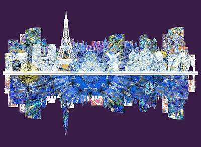 Eiffel Tower Drawing - Paris France, City Skyline by John Groves