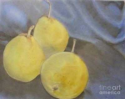 Pear Drawing - 3 Pears by Crispin  Delgado
