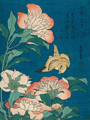 Asian Painting - Peonies And Canary by Katsushika Hokusai