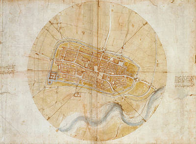 Landscape Drawing - Plan Of Imola by Leonardo da Vinci
