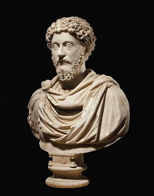 Portrait Bust Of Emperor Marcus Aurelius Print by Roman School