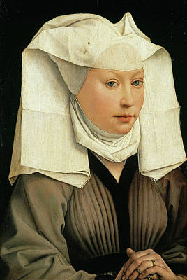 Closeup Painting - Portrait Of A Woman With A Winged Bonnet by Rogier van der Weyden