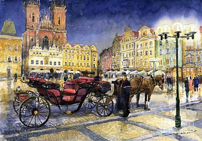 Cab Painting - Prague Old Town Square by Yuriy  Shevchuk