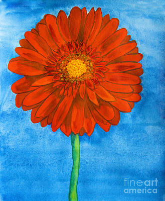 Gerbera Painting - Red Gerbera by Irina Afonskaya