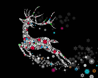 Christmas Greeting Mixed Media - Reindeer Design By Snowflakes by Setsiri Silapasuwanchai