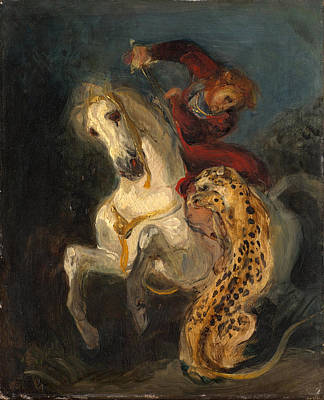 Eugene Delacroix Painting - Rider Attacked By A Jaguar by Eugene Delacroix