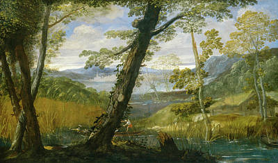 River Landscape Print by Annibale Carracci
