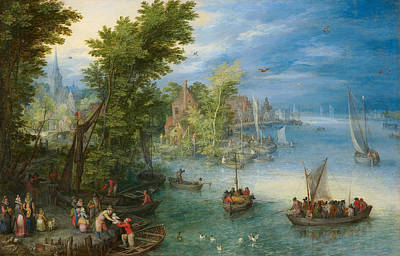 Angling Painting - River Landscape by Jan Brueghel the Elder