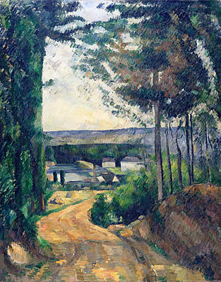 Crossing Painting - Road Leading To The Lake by Paul Cezanne