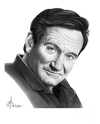 Famous People Drawing - Robin Williams by Murphy Elliott