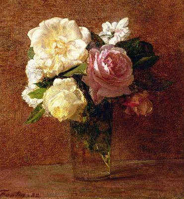 Cut Flowers Painting - Roses by Ignace Henri Jean Fantin-Latour