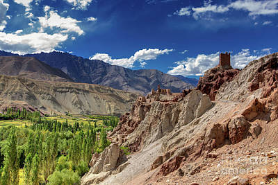 Ruins And Basgo Monastery Surrounded With Stones And Rocks Ladakh Print by Rudra Narayan Mitra