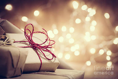 Wishes Photograph - Rustic Retro Gifts, Present Boxes On Glitter Background. Christmas Time by Michal Bednarek