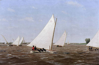 Boating Painting - Sailboats Racing On The Delaware by Thomas Eakins