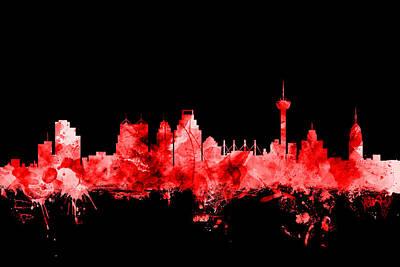 Texas Poster Digital Art - San Antonio Texas Skyline by Michael Tompsett