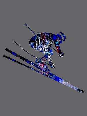 Snow Mixed Media - Skiing Collection by Marvin Blaine