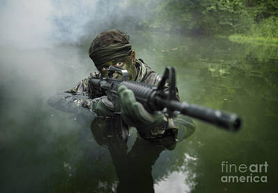 Aiming Photograph - Special Operations Forces Soldier by Tom Weber