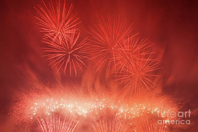 Light Photograph - Spectacular Fireworks Show Light Up The Sky. New Year Celebration. by Michal Bednarek