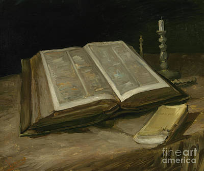 With Scripture Painting - Still Life With Bible by Vincent Van Gogh