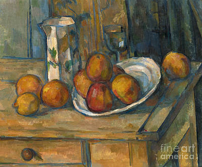 Still Life With Milk Jug And Fruit Print by Paul Cezanne